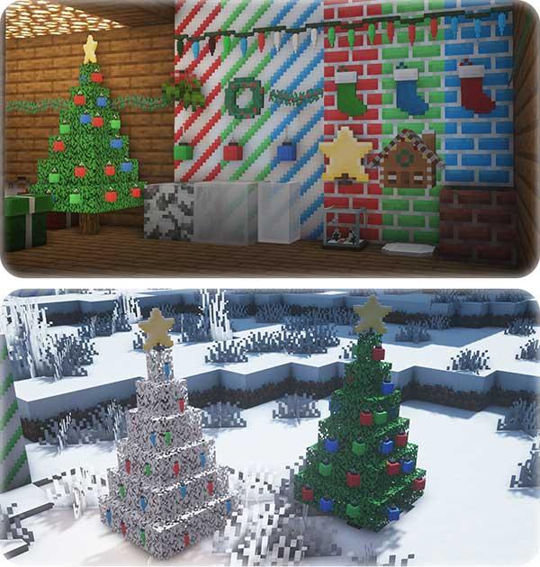 Imagen compuesta donde podemos ver los árboles de Navidad y objetos de decoración de Navidad que nos permitirá utilizar el mod Christmas Spirit 1.16.4.