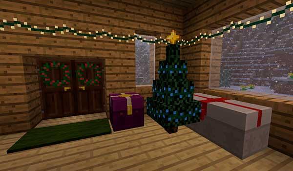 Imagen donde podemos ver algunos de los elementos decorativos de Navidad que podremos utilizar con el mod Joshua's Christmas 1.16.4.