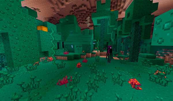 Imagen donde podemos ver, al instalar Kawaii World Texture Pack 1.17 y 1.16, el aspecto que tendrá el bioma Warped Forest.