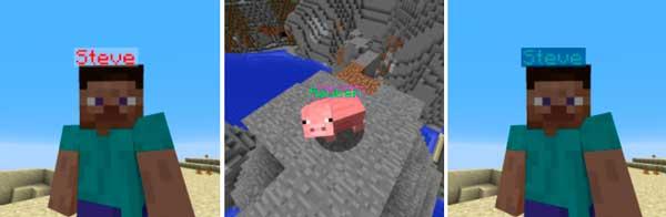 Imagen compuesta donde podemos ver tres ejemplos de nombres de colores, generados por el mod Name Pain 1.16.2, 1.16.3, 1.16.4 y 1.16.5.