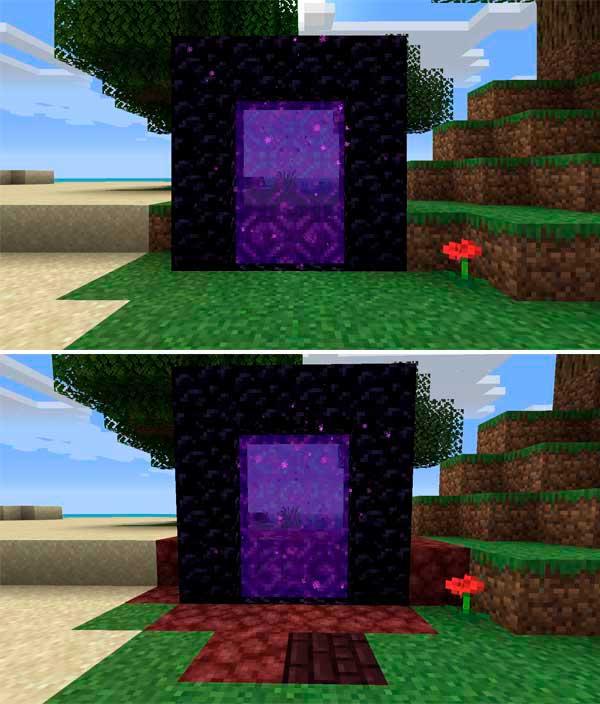 Imagen compuesta donde se compara el aspecto de un portal al Nether predeterminado, con el portal al Nether que generará el mod Nether Portal Spread Mod 1.16.3 y 1.16.4.