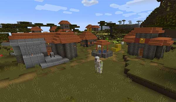 Imagen donde podemos ver el aspecto que tendrán las aldeas después de instalar Pixxilite Texture Pack 1.16.