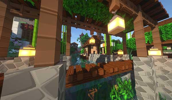 Imagen donde podemos ver un ejemplo de un poblado, rodeado de agua, y decorado con las texturas del paquete de texturas SimonKraft 1.16.