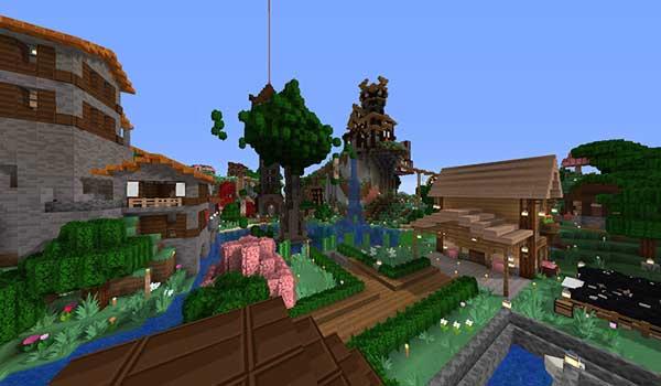 Imagen donde podemos ver un poblado, decorado con las texturas de SimonKraft Texture Pack 1.16.