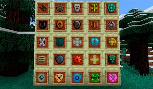 Imagen donde podemos ver una exposición con todos los escudos que nos permitirá fabricar el mod Spartan Shields 1.16.4.