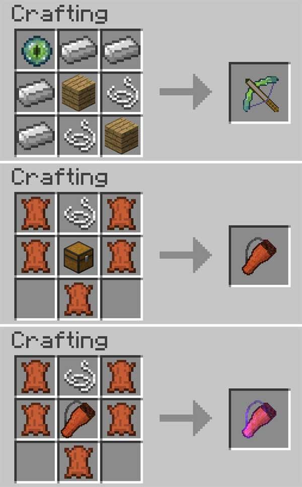 Imagen donde podemos ver cómo se fabrica la ballesta y los dos tipos de carcaj que nos permitirá fabricar el mod Switch-Bow 1.16.4 y 1.16.5.