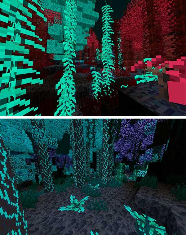 Imagen compuesta donde podemos ver el aspecto que tendrá la nueva dimensión que añade el mod The Abyss Project 1.16.4.