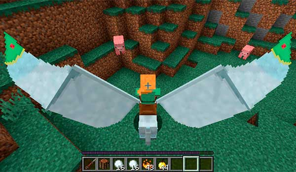 Imagen donde podemos ver a un jugador montado sobre un caballo volador, añadido por el mod The Ultimate Unicorn 1.16.4.