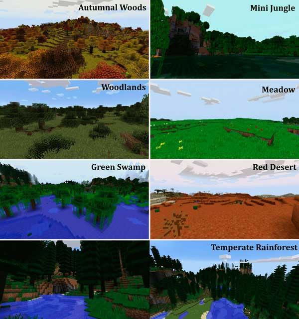 Imagen donde podemos ver algunos de los biomas que nos encontraremos tras instalar el mod Traverse 1.16.4.