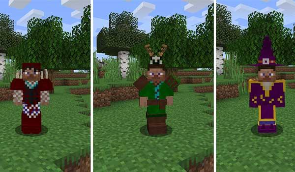 Imagen compuesta donde podemos ver tres armaduras que podremos fabricar con el mod Wizard Staff 1.16.4.