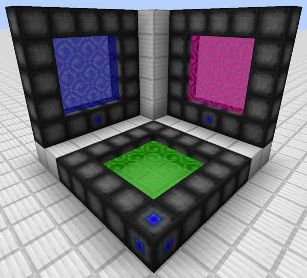 Imagen de ejemplo donde podemos ver tres tipos de portales distintos, creados con el mod Wormhole Portals 1.16.1, 1.16.2, 1.16.3, 1.16.4 y 1.16.5.