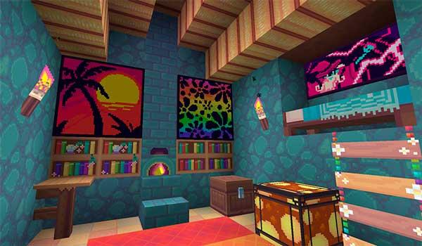 Imagen donde podemos ver el interior de una casa, decorada con las texturas del paquete Anemoia 1.16.