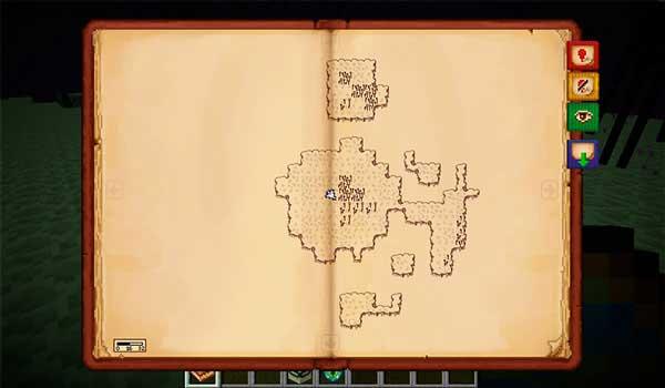 Imagen donde podemos ver cómo se verá el nuevo formato de mapa que nos ofrece el mod Antique Atlas 1.16.4.