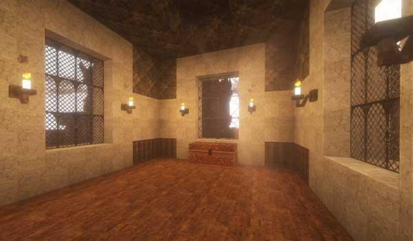Imagen donde podemos ver el aspecto que puede tener el interior de una vivienda utilizando el paquete de texturas Dark Renaissance 1.16, 1.15 y 1.12.