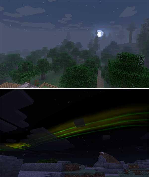 Imagen compuesta donde podemos ver el efecto de niebla y las auroras boreales que añade el mod Dynamic Surroundings 1.16.4 y 1.16.5.