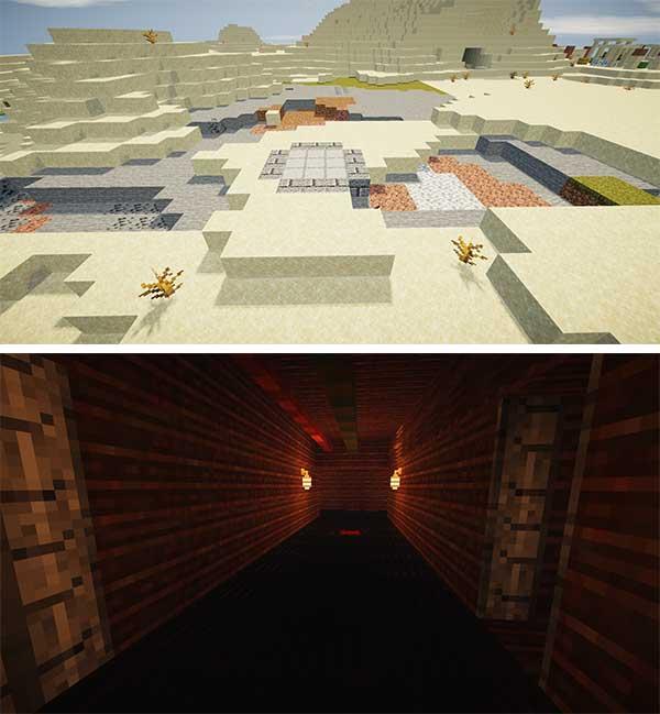 Imagen donde podemos ver la entrada al búnker que generará el mod Fallout Power Armor 1.16.4 y 1.16.5.