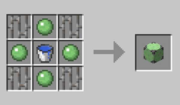 Imagen donde podemos ver la receta necesaria para fabricar el único bloque que añade el mod HydroGel 1.16.1, 1.16.2, 1.16.3, 1.16.4 y 1.16.5.