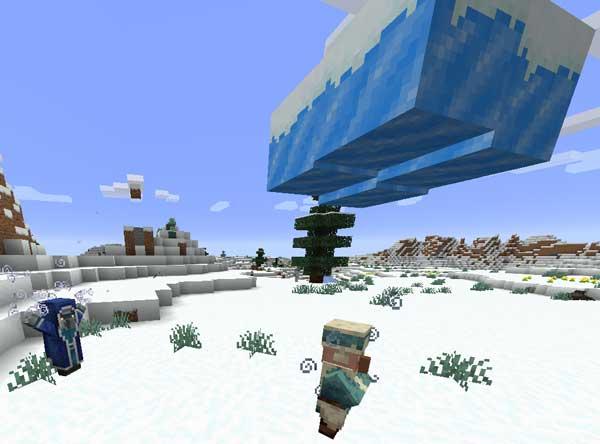 Imagen donde podemos ver cómo un Iceologer invoca una nube de hielo sobre un aldeano, gracias al mod Ice Ice Baby 1.16.1, 1.16.2, 1.16.3 y 1.16.4.