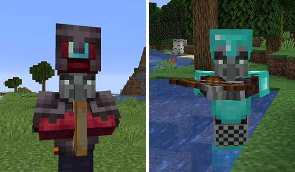 Imagen donde podemos ver un Illager con armadura de diamante y un Ilusionista, ambos modificado por el mod Illagers Wear Armor 1.16.3 y 1.16.4.