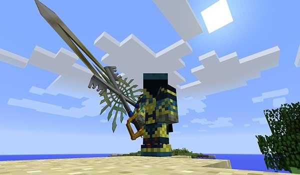 Imagen donde podemos ver un jugador utilizando una de las armas de grandes dimensiones que nos ofrece el mod Kingdom Keys 1.16.4 y 1.16.5.