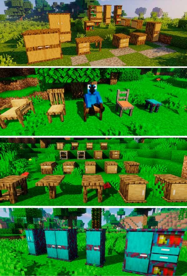 Imagen compuesta donde podemos ver algunos de los muebles que nos ofrecerá el mod Macaw's Furniture 1.16.3 y 1.16.4.