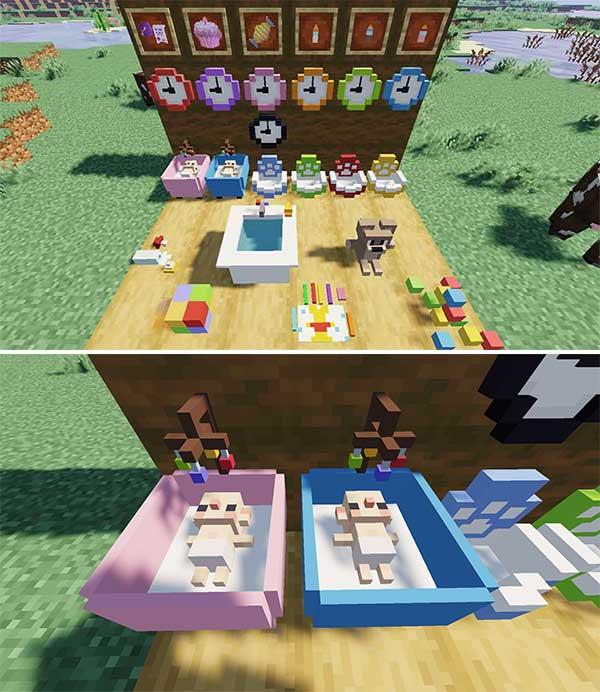 Imagen donde podemos ver algunos de los objetos y elementos que podremos utilizar al instalar el mod MineFamily 1.16.4.