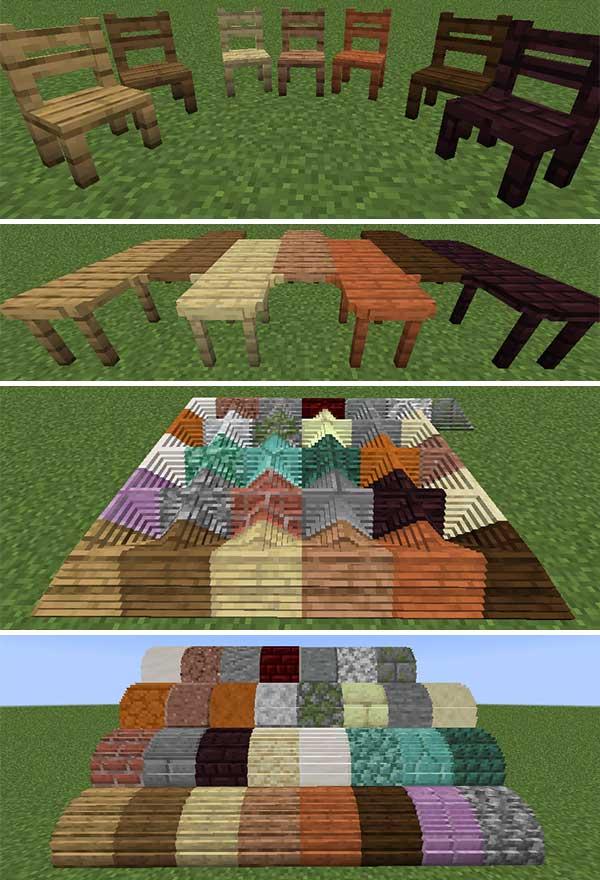 Imagen compuesta donde podemos ver diversos ejemplos de nuevos bloques y elementos decorativos que podremos utilizar con el mod Mo' Blocks 1.16.1, 1.16.4 y 1.16.5.