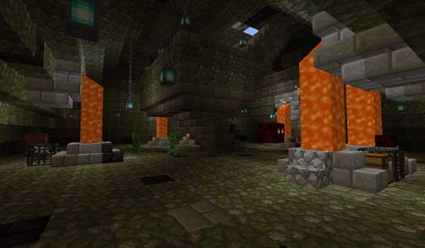 Imagen donde podemos ver el interior de una de las pirámides que se encarga de generar el mod Shrines Structures 1.16.3 y 1.16.4.