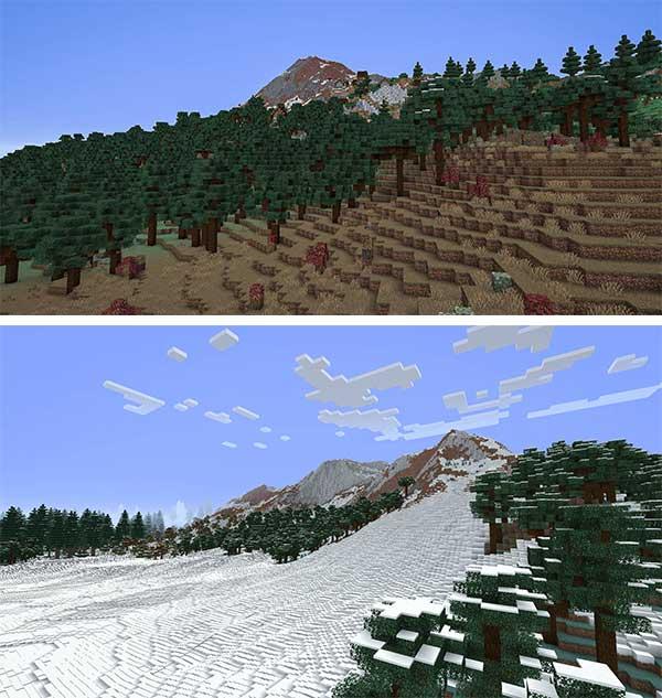 Imagen compuesta donde podemos ver dos paisajes modificados por la nueva generación de terreno que ofrece el mod TerraForged 1.16.4 y 1.16.5.