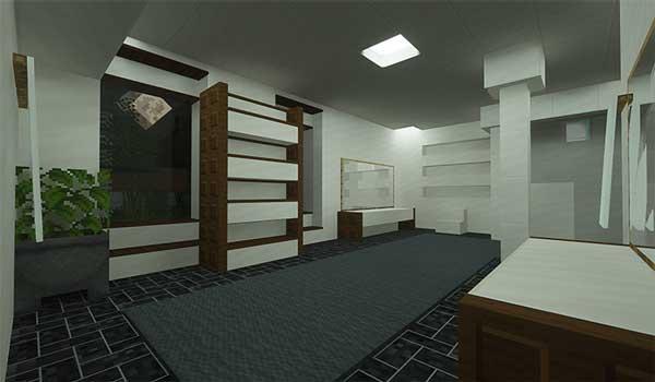 Imagen donde podemos ver el interior de una vivienda decorada con los nuevos bloques de construcción que nos ofrece el mod Block Diversity 1.16.5.