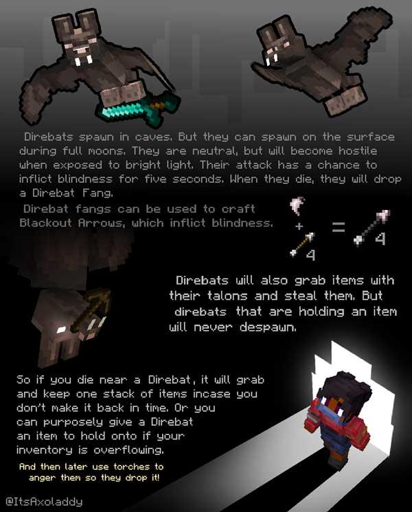 Imagen donde podemos ver una breve explicación sobre la nueva variante de murciélagos que añade el mod Direbats 1.16.2, 1.16.3, 1.16.4 y 1.16.5.