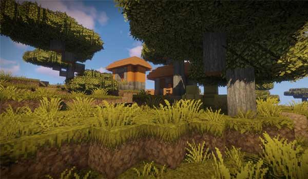 Imagen donde podemos ver un poblado en el bioma de sabana, decorado con las texturas que nos ofrece Epic Adventures 1.16, 1.15 y 1.12.