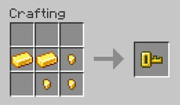 Imagen donde podemos ver cómo se fabrica la llave que nos ofrecerá el mod Lock & Key 1.16.3, 1.16.4 y 1.16.5.
