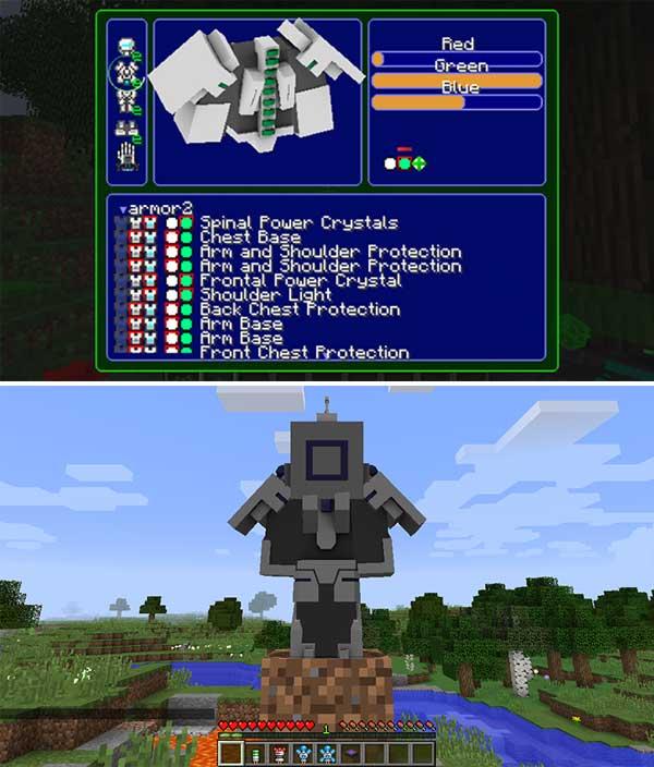 Imagen compuesta donde podemos ver una armadura y la interfaz de personalización de armadura que nos ofrece el mod Modular Powersuits 1.16.4.