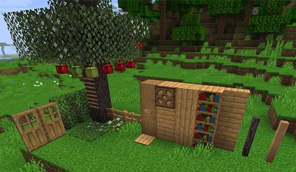 Imagen donde podemos ver el nuevo árbol, y el nuevo tipo de madera, que añade el mod Terra Incognita 1.16.3, 1.16.4 y 1.16.5.