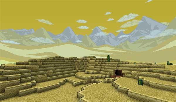 Imagen donde podemos ver la apariencia que tendrá el bioma de desierto con el paquete de texturas Terrapack 3D 1.16, 1.15 y 1.14 instalado.