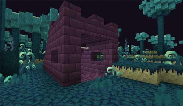 Imagen donde podemos ver una entrada a las catacumbas que añade el mod The Outer End 1.16.4 y 1.16.5.