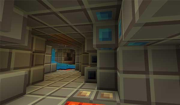 Imagen donde podemos ver el interior de una mina, decorada con las texturas Tiny Pixels Texture Pack 1.16, 1.13 y 1.12.