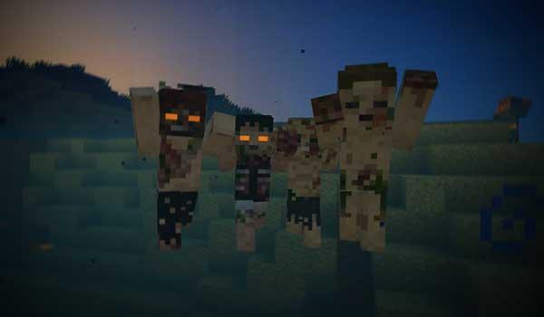 Imagen donde podemos ver el aspecto que tendrán los ahogados con Tissou's Zombie Texture Pack 1.17, 1.16 y 1.12 instalado.