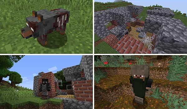 Imagen donde podemos ver las ruinas y algunas de las criaturas que podremos encontrar al instalar el mod Zombie Extreme 1.16.4 y 1.16.5.