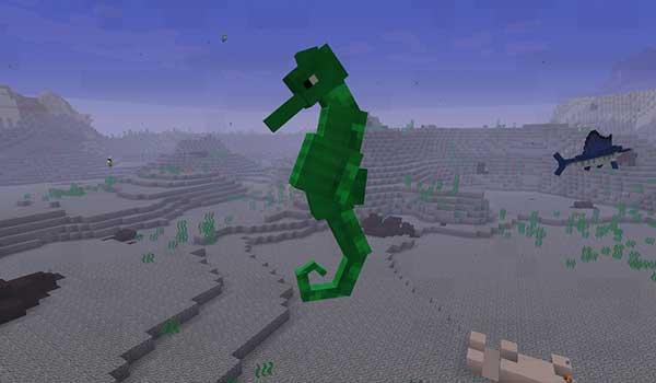 Imagen donde podemos ver una de las nuevas criaturas marinas que añade el mod Abyssal Depths 1.16.3, 1.16.4 y 1.16.5, en este caso un caballito de mar.