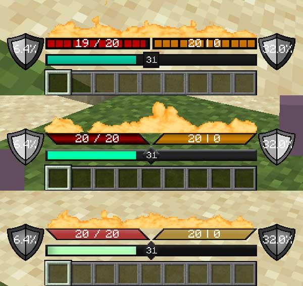 Imagen donde podemos ver tres variantes estáticas de la nueva interfaz de juego que ofrece el mod Better UX 1.16.2, 1.16.3, 1.16.4 y 1.16.5.
