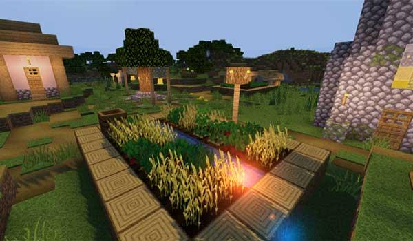 Imagen donde podemos ver el aspecto que tendrá una aldea con el paquete de texturas Compliance 1.16.