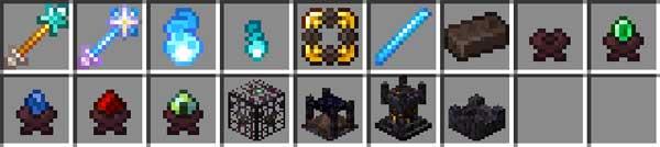 Imagen donde podemos ver todos los nuevos objetos, para hacer granjas de enemigos, que nos ofrece el mod Conjuring 1.16.3, 1.16.4 y 1.16.5.