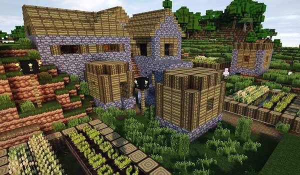 Imagen donde podemos ver la apariencia que tendrá una aldea utilizando el paquete de texturas GeruDoku 1.16, 1.15 y 1.14.