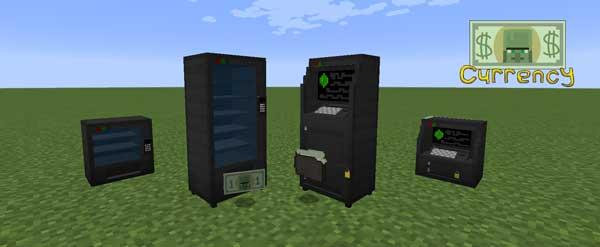Imagen donde podemos ver los cajeros y máquinas expendedoras que nos ofrece el mod Good Ol' Currency 1.16.4.