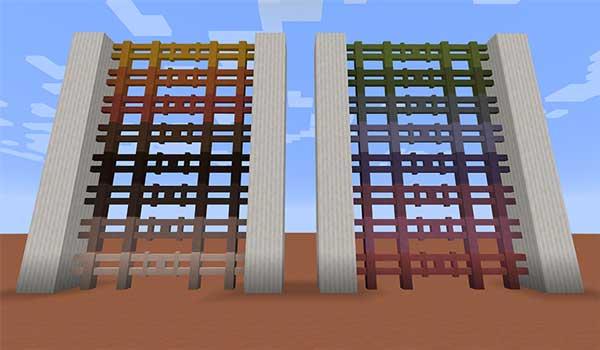 Imagen donde podemos ver una exposición de vallas de terracota, creadas con el mod Lotta Terracotta 1.16.1, 1.16.3, 1.16.4 y 1.16.5.
