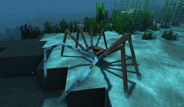 Imagen donde podemos ver el cangrejo gigante que podremos encontrar en el bioma de Fosas Abisales que añade el mod Odd Water Mobs 1.16.4 y 1.16.5.