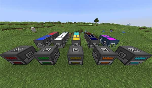 Imagen donde podemos ver una exposición con las diversas máquinas que nos ofrece el mod Omega Craft 1.16.5.