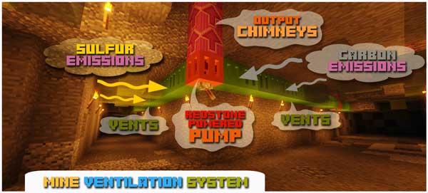 Imagen donde podemos ver un sistema de extracción de humos, del mod Pollution of the Realms 1.16.4 y 1.16.5, para evitar la contaminación.